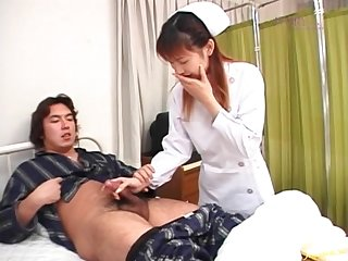 Sexy Asian nurse Rina Usui gives her patient a handjob. HD