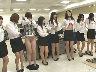 Lot of kinky Japanese babes take off their clothes to twit