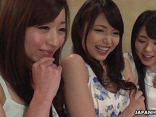 Three hot Japanese women enjoying a mind besmirched group lovemaking with her friends
