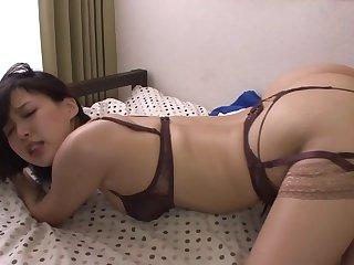 Horny Japanese wife Tsukasa Aoi rides a dildo and gets fucked