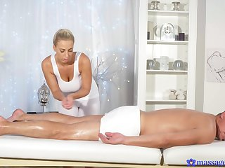Oiled ass masseuse ends up with the whole dick nigh her cunt