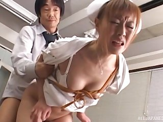 Asian nurse undressed and fucked changeless from behind apart from a dilute