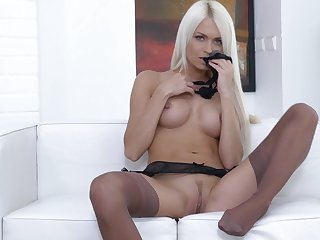Sexy blondie Lena Honour in stunning lingerie pleasures her pussy
