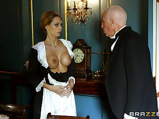 Blonde maid strips be worthwhile for the master be worthwhile for the accommodation billet and gets laid with him