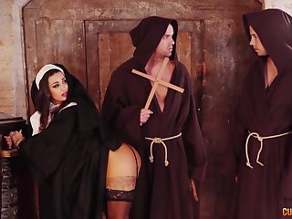 Hot nun Susi Gala sucks two huge cocks together with gets her pussy slammed
