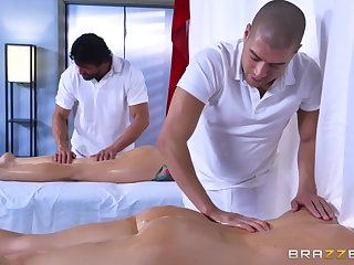 Hunky masseurs palatable Monique Alexander coupled with Chanel Preston nearly a fourway fuck
