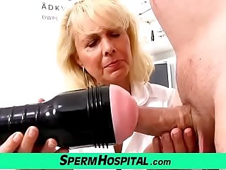 Blonde lady doctor Koko old just about young CFNM exam and handjob