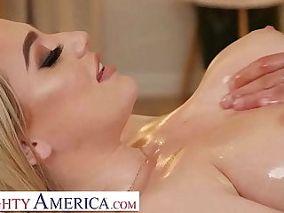 Naughty America - Blake Blossom shows off her heavy knockers and wet pussy not far from her hunky masseur