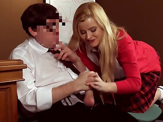 Clothed blonde schoolgirl drives her teacher crazy with CFNM