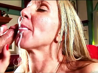 Sexy mature lady in stockings sucks and fucks for a facial cumshot