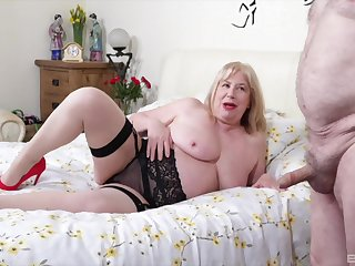 Fat amateur wife Trisha in stockings gets fucked by her lover