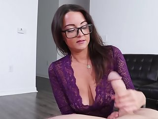 Nerdy lovely with beamy titties uses feet to make the guy cum