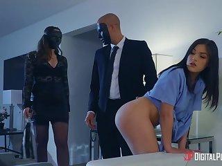Kinky couple talk a cute Asian nurse into having a troika