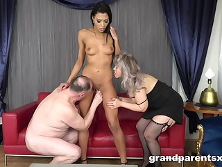 Kinky older couple invited over a wizened younger hooker for a 3-way