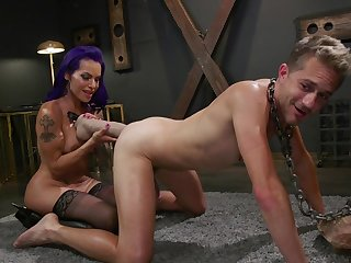 Milf ass fucks slave and uses huge toys to hack that