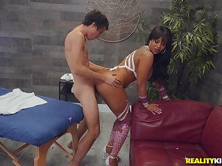 Curvy ass Latina mom, hard sex with the younger step son