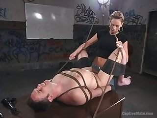 Cruel domina Audrey Leigh strapon fuck anal aperture of man with promised crap