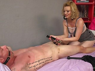 Brutal and painful dick torture session by tow-headed Cherry Torn