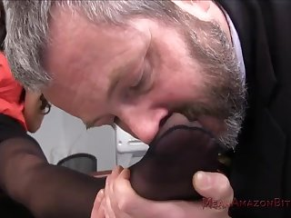 Silver daddy plus hot MILF Mercedes Carrera foot fetish