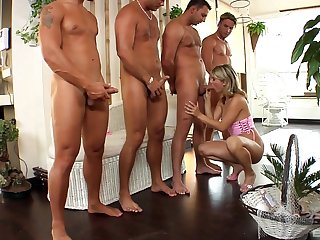 Superb blonde gags with several dicks up say no to throat