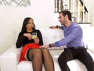 Slutty nextdoor ebony chick Adriana Maya seduces white fond of man