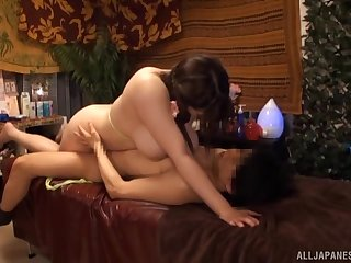 Chubby woman sits on top and fulfills her desires for everlasting Japanese sex