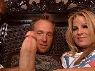 unlucky dude with gigantic cock - threesome sex