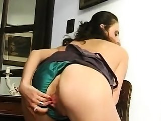 Granny in soaked panties fingering hairy with the addition of swollen cunt
